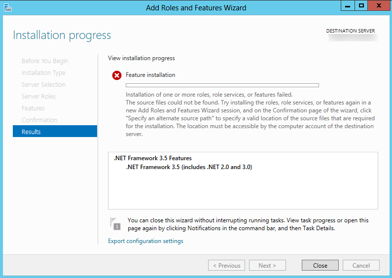.Net 3.5 Feature install fails on Windows 2012